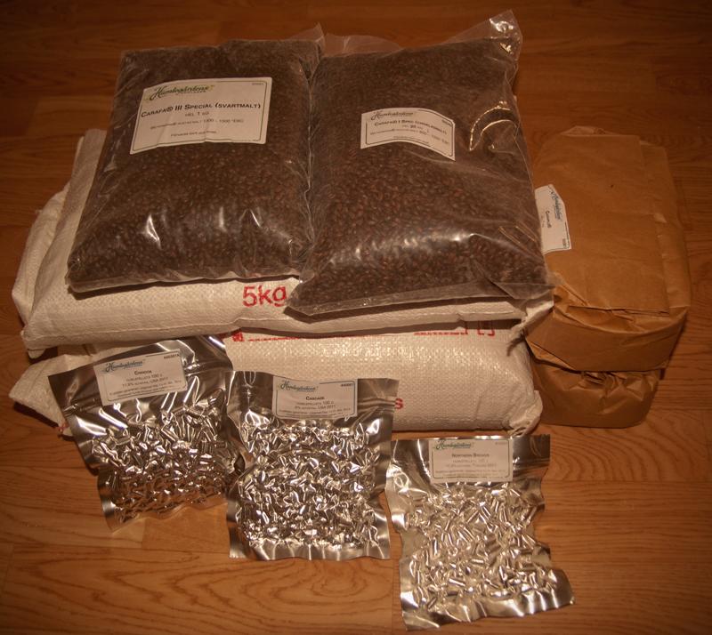 Ingredienser till en porter och en IPA